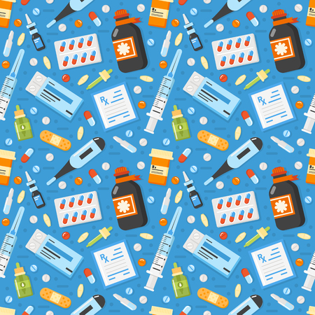 Pharmacy pattern with medical elements. Vector illustration.