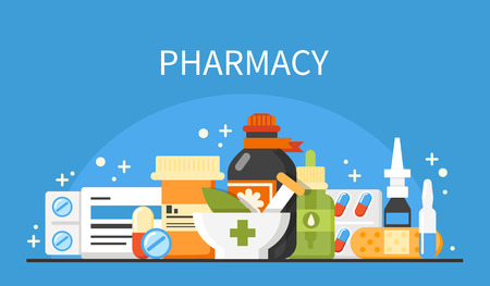 Pharmacy concept banner. Vector medical illustrations.