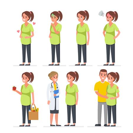 Pregnant woman character set. Vector illustration Illustration