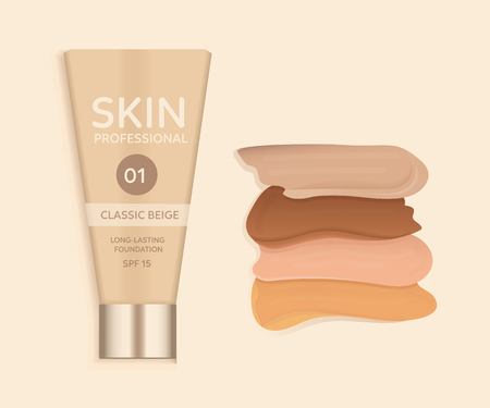Skin foundation cream and different tones. Vector illustration.