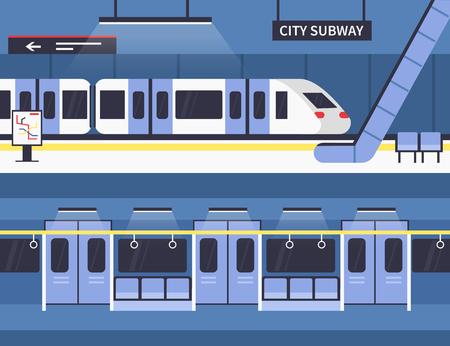 City subway station platform and underground train. Vector concept illustration. Infographic elements.