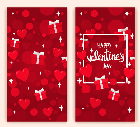 Valentine day card with handwritten lettering and colorful flat elements.