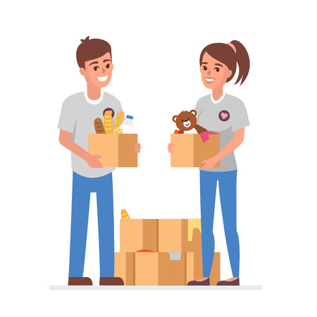 needy: Young Volunteers with  donation boxes. Vector concept illustration.