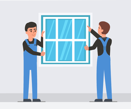 Workers install plastic window. Vector illustration.
