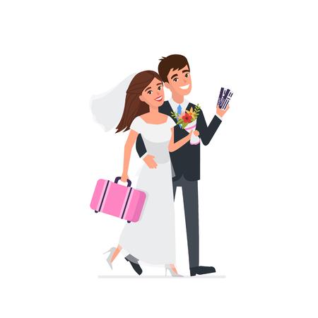 Young newlyweds go on a wedding travel. Vector illustration. Illustration