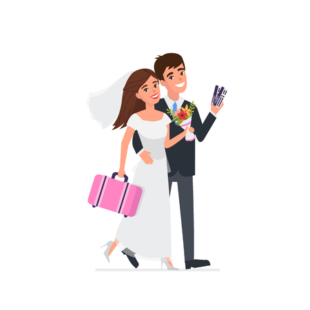 Young newlyweds go on a wedding travel. Vector illustration. Ilustrace