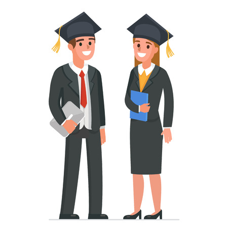 Businessman and businesswoman wearing academic cap. Vector illustration.