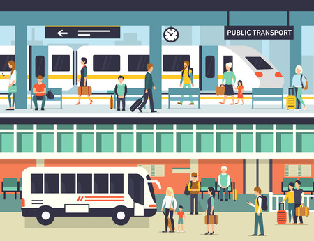 railway: People on railway and bus station. Passengers at bus stop and train platform. Vector concept illustration. Infographic elements.