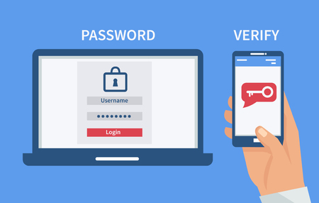 Two steps authentication concept. Verification by smartphone. Vector illustration.