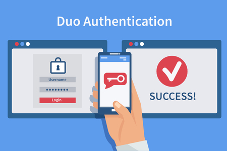 Two steps authentication concept. Duo verification by smartphone and approvement. Vector illustration.