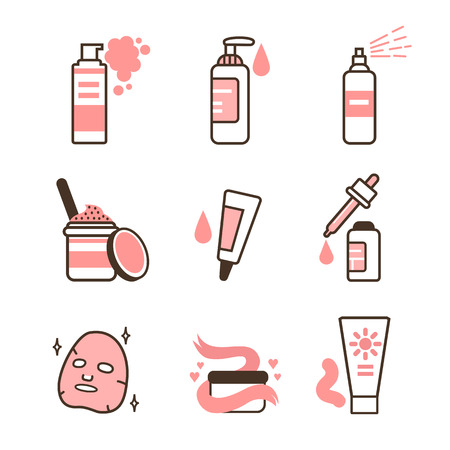 Skin care routine icons set in line style. Vector illustration. Vettoriali