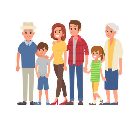 Big family portrait with children, parents, grandparents. Vector illustration. Ilustração