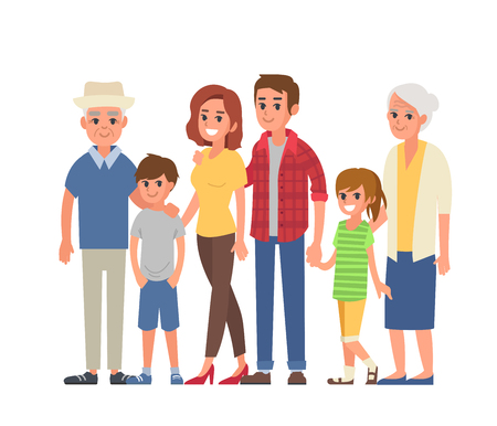 Big family portrait with children, parents, grandparents. Vector illustration. Illustration