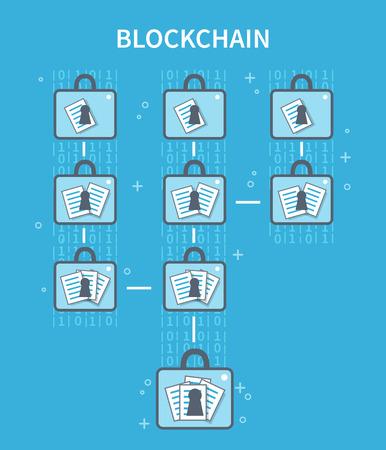 Blockchain 説明の概念図。ベクトル フラット ライン インフォ グラフィック。  イラスト・ベクター素材