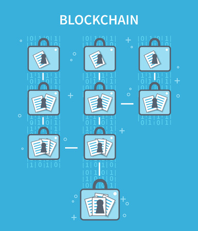 Blockchain explanation concept illustration. Vector flat line infographic. Vettoriali