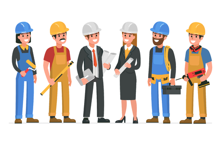 Construction workers team. Vector illustration.