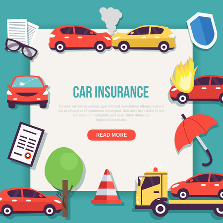 Car insurance web banner. Types of Insurance cases. Vector illustration.
