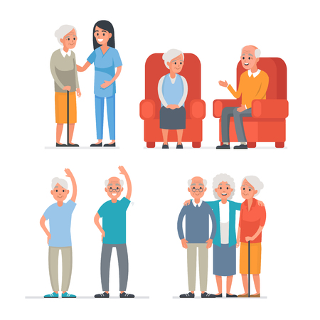 sanatorium: Elderly people leisure in nursing home. Vector people illustration isolated on white background.
