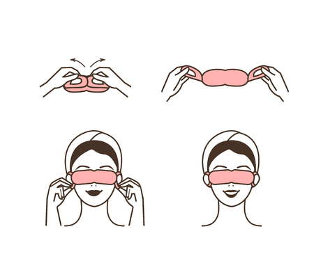 Steps how to use eye sleep mask. Vector isolated illustrations set.