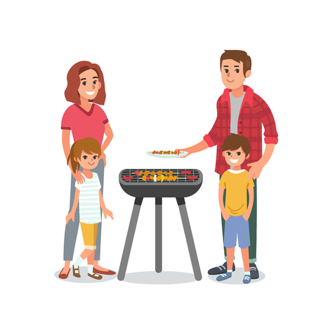 Young family with children making barbecue. Vector illustration. Family portrait isolated on white background. Ilustrace