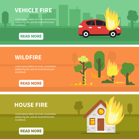 Different fire accidents banners collection. Vector illustration.