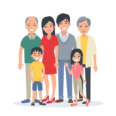 Asian family portrait with children, parents, grandparents. Vector illustration.