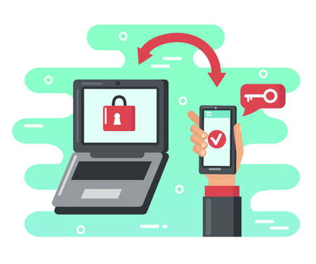 Two steps authentication concept. Verification by smartphone. Vector flat illustration.