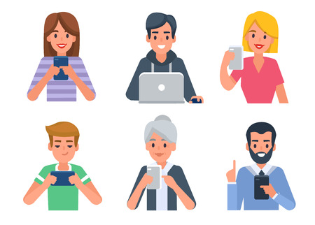 People avatars with different devices. Vector illustration. Vettoriali
