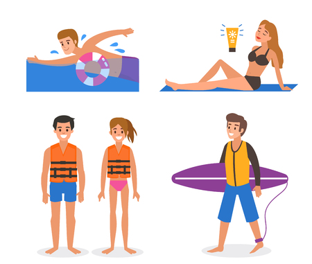 Set of people on the beach. Vector illustration. Ilustrace
