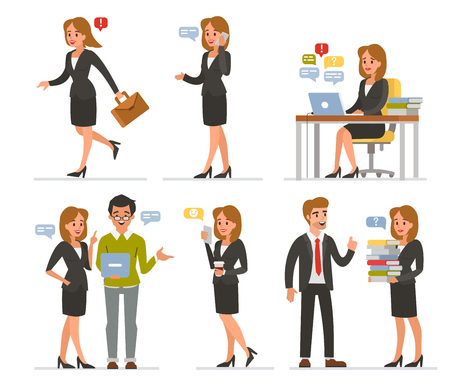 Business woman day at work. Vector illustrations.