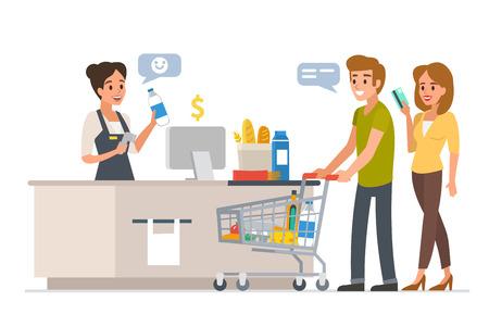 mujer en el supermercado: Cajero al por menor de la mujer con el explorador del código de barras y los pares jovenes con las compras. Familia de compras en el supermercado y el pago con tarjeta. Ilustración del vector.