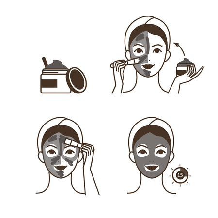 Steps how to apply clay mask. Vector isolated illustrations set.