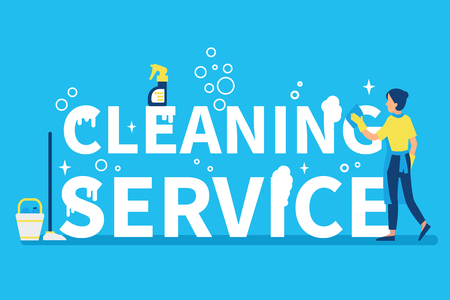 Cleaning service concept design for web banners, infographics. Woman maid at work. Flat style vector illustration.