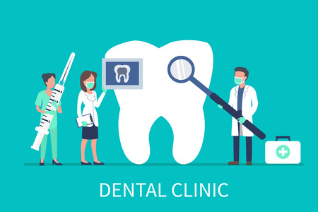Dental clinic concept design for web banners, infographics. Stomatology dentist at work. Flat style vector illustration. Ilustrace