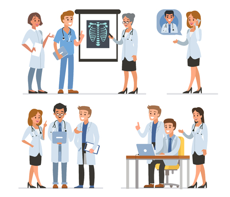 Doctors characters collection. Vector medicine illustration.
