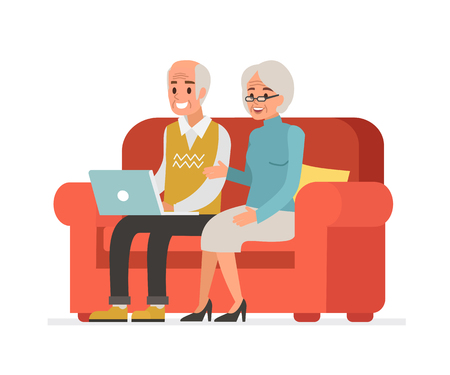 Elderly couple sitting on sofa and holding laptop. Vector illustration.