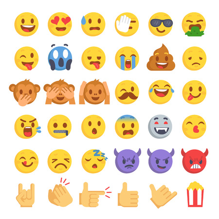 Cartoon emoji collection. Set of emoticons with different mood. Flat style vector illustration isolated on white background. Vettoriali