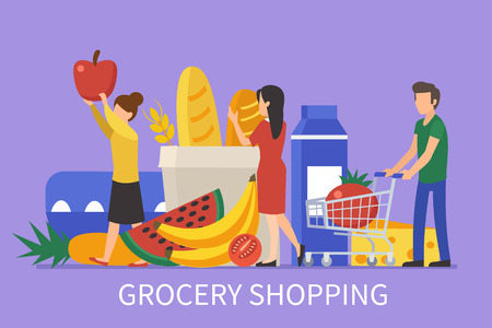 Grocery shopping concept design for web banners, infographics. People make purchases in store. Flat style vector illustration.