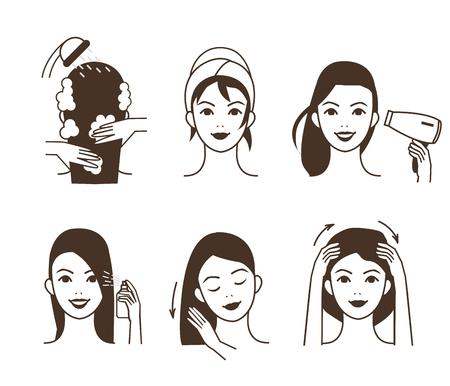 Vrouw zorgt voor haar haar. Verschillende haarverzorgingsprocedures. Vector illustratie.