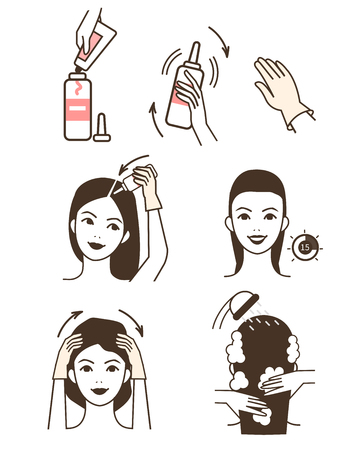 Steps how to apply hair dye.  Vector isolated illustrations set.