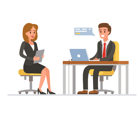 Woman having a job interview with Businessman HR. Vector illustration.