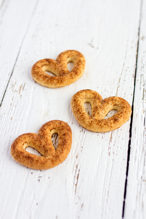 pretzel stick: Pretzel with cinnamon and sugar on white table Stock Photo
