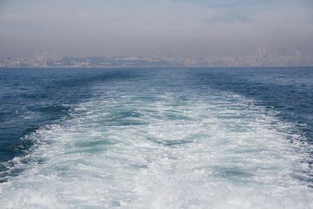 Bosphorus cruise, Istanbul, Turkey. Waves on water.
