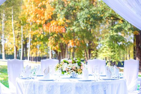 Table setting at a wedding reception, outdoor setting, view of autumn bright yellow and orange trees