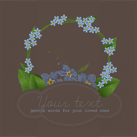 Composition of stylized forget-me-nots with cross-stitch