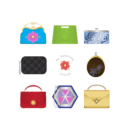 Set of handbags, clutches of different eras and styles