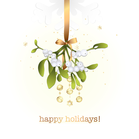 Mistletoe branches with gold bells on a white background. Stock fotó - 113423997