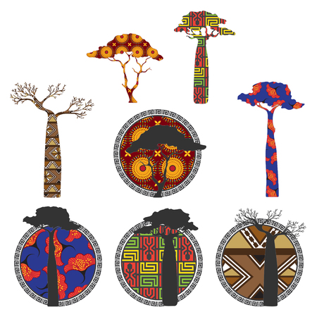 Stylized trees - baobabs and acacias with ethnic African ornaments. Banners and labels Illustration