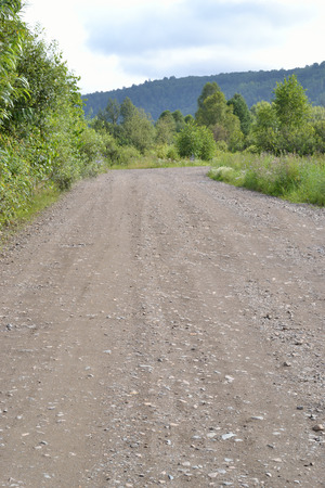 De grondweg loopt door het bos. Stockfoto - 83690063
