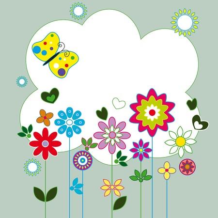 cartoon spring: pattern of colorful flowers butterflies